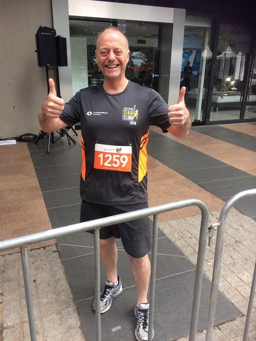 Tony Pearces gives a thumbs up before starting the Eureka stair climb